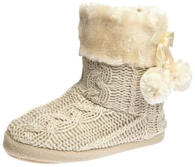 Airee Fairee Women's Slipper Boot Faux Fur Lined with Pom Poms