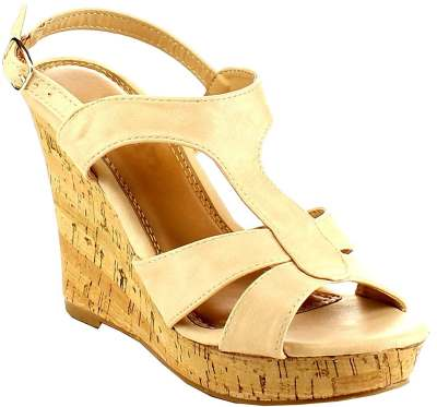 BESTON Women's Strappy Slingback Platform Cork Wedge Sandals