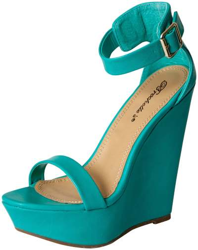Breckelles Women's Open Toe Ankle Strap Platform Wedge Sandal