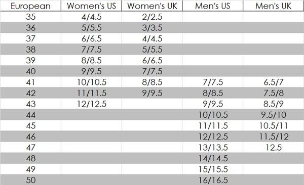 ECCO Women's Shoe Size Chart