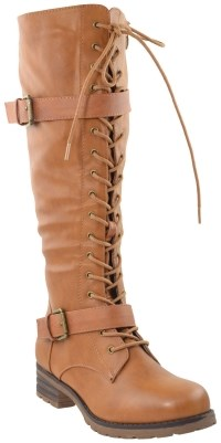 Generation Y Womens Knee High Boots Lace Up Combat Buckle Straps Low Heels Shoe Review