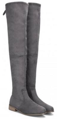 gray suede high boots