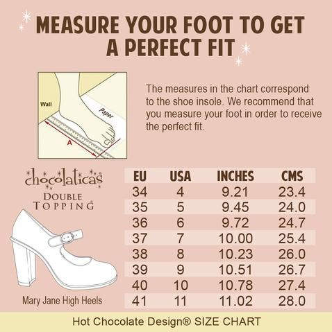 Hot Chocolate Design Women's Shoe Size Chart