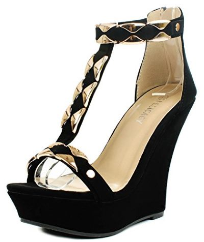 JJF Shoes Stephy90 Gold Plate T-Strap Platform High Wedge Sandal Review