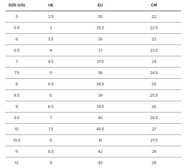 KEEN Women's Shoe Size Chart