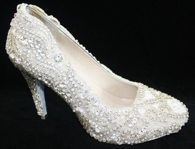 white jewelry pump