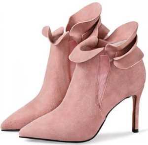 pink heeled booties