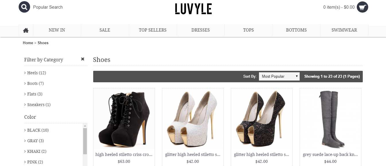 luvyle shoe category
