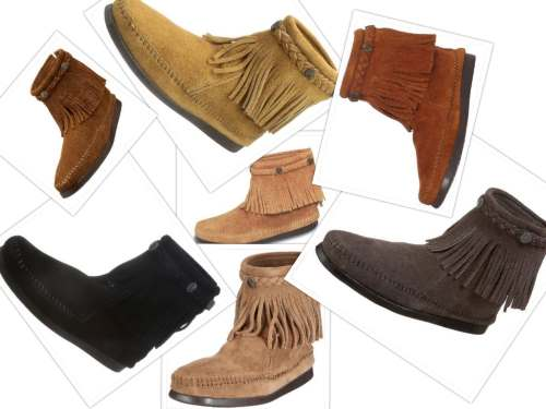 Minnetonka Back Zip Boot collage