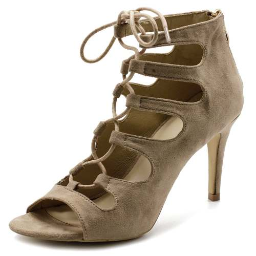 Women's Shoe Lace-up Gladiator High Heel Bootie by Ollio