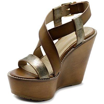 Ollio Womens Shoe Vintage Burnish Wedge Cross Strap Sandal Review