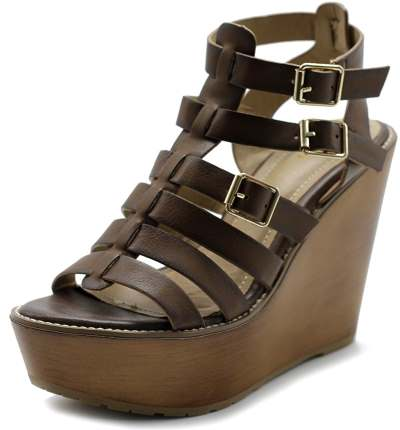 Ollio Womens Shoe Burnish Vintage Gladiator Strap Wedge High Heel Sandal