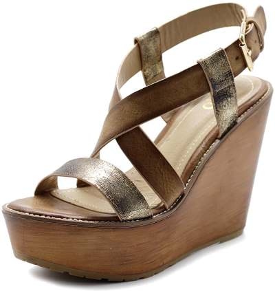 Ollio Womens Shoe Vintage Burnish Wedge Cross Strap Sandal