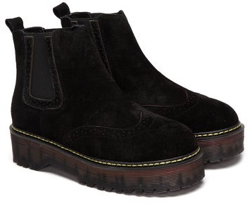 black ankle boots with platform