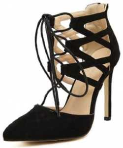 black laced heeled bootie