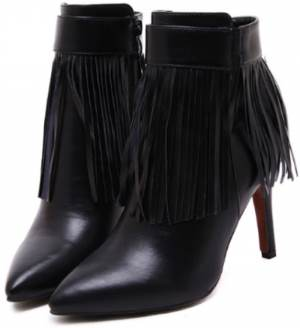 black booties with tassels