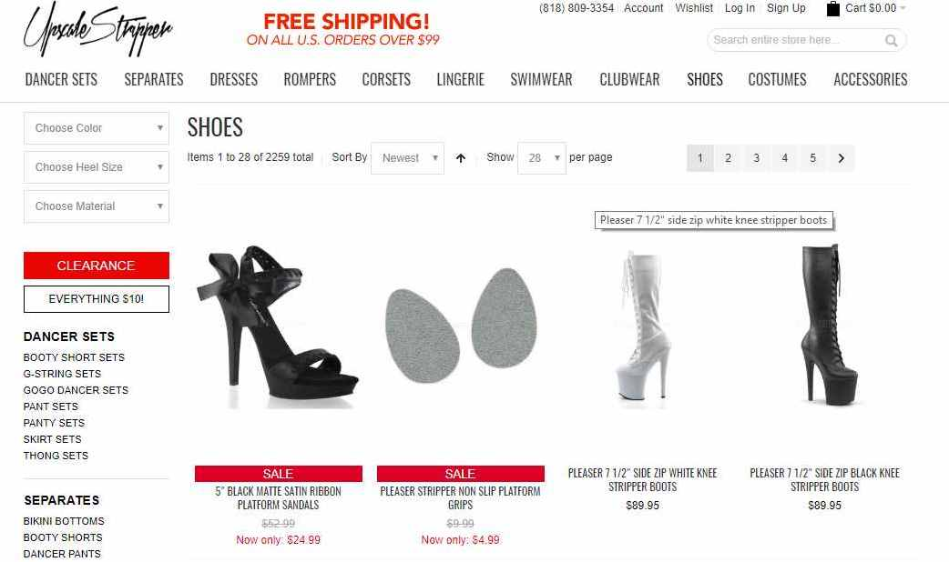 shoe category