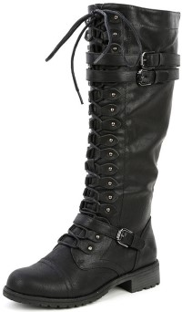Wild Diva Womens Timberly-65 Lace Up Knee High Boot