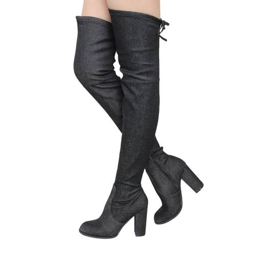 Beston GF58 Women's Drawstring Inside Zip Block Heel Snug Fit Thigh High Boots