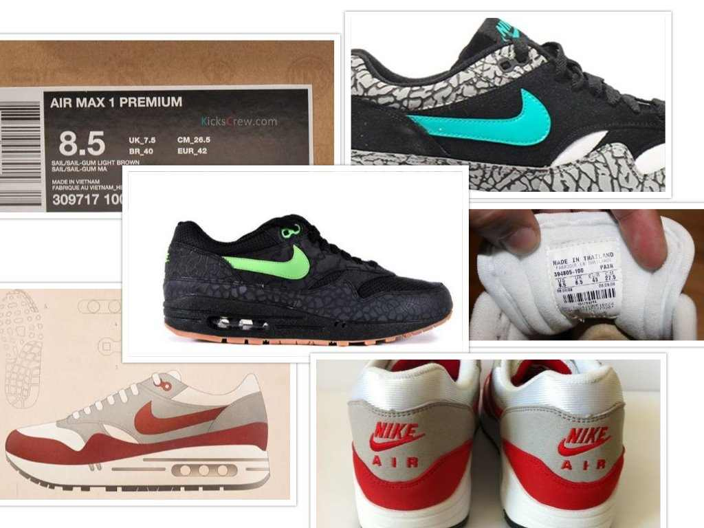 nike fake vs original collage