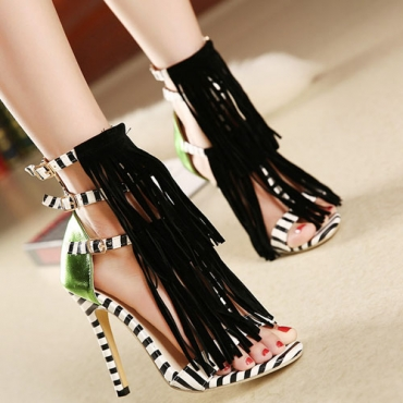 patchwork-striped-tassels-decorated stiletto ankle wrap sandal