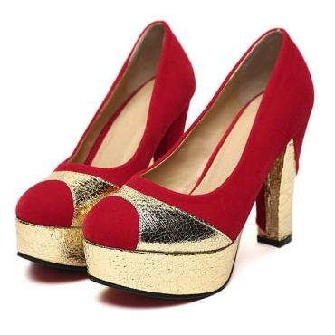 peep toe chunky red suede pumps