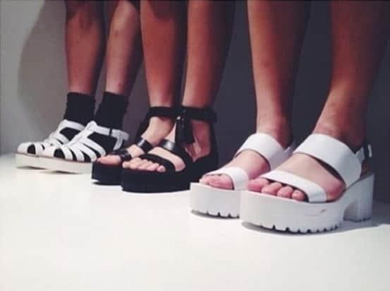 platform sandals: black and white