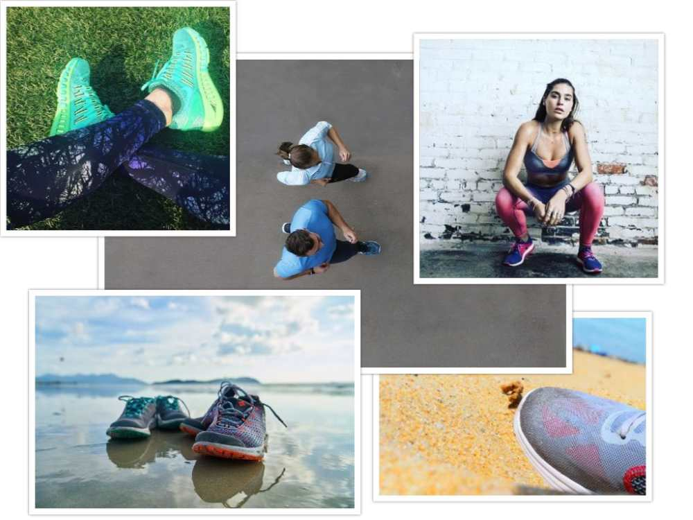running shoes collage