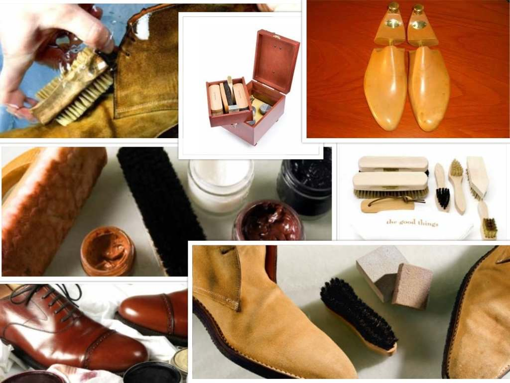 shoe care collage