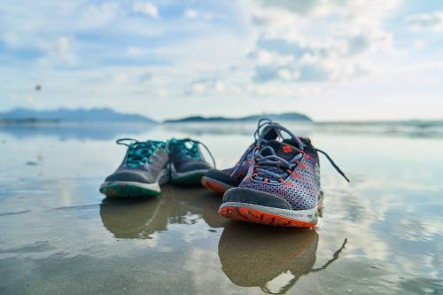 sneakers on the water surface